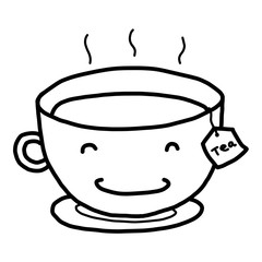 hot tea cartoon / vector and illustration, black and white, hand drawn, sketch style, isolated on white background.