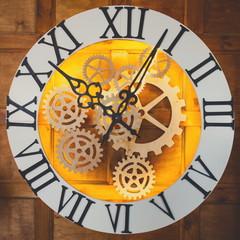 Closeup of big fairy like clock with watch mechanism