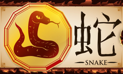 Scroll with Medal with Chinese Zodiac Snake over Fire Background, Vector Illustration