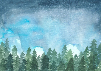 landscape painting of pine trees in winter while snowing at night, watercolor illustration