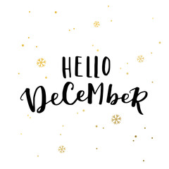 Hello december 2017 typography on white background with golden snowflakes. Greeting card design with hand lettering inscription for winter holidays. Vector minimalistic Illustration