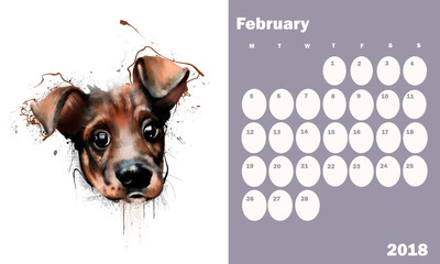 Calendar for 2018 on February with dog portrait close up on white background. With a dedicated field under the number purple