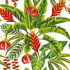 Exotic jungle flowers and leaves seamless