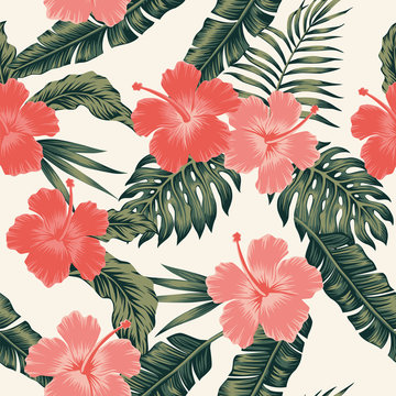 Flowers hibiscus abstract color tropical leaves seamless