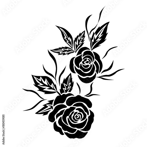 Black Rose Flower Tattoo Isolated Vector Stock Image And Royalty