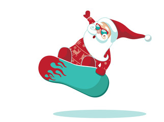 Christmas illustration of Santa Claus snowboarding. Isolated on white. EPS 10 vector.