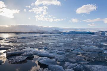 Natural winter season, Jokulsarlon lagoon natural landscape background