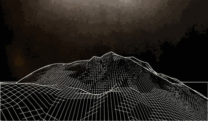 Vector illustration of a three-dimensional wireframe landscape on a black background.