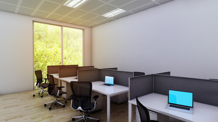 3D office working area concept design