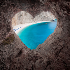 View from heart shape cave to the idyllic beach