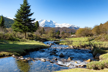 river with Pic du Midi de Bigorre in the french Pyrenees
