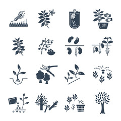 set of black icons plant, herb, grower, coffee, beans, barley
