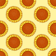 Yellow seamless pattern with sunflowers