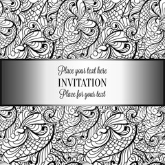 Baroque background with antique, luxury black and silver vintage frame, victorian banner, damask floral wallpaper ornaments, invitation card, baroque style booklet, fashion pattern,template for design