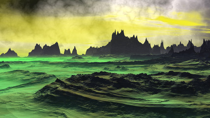 Fantasy alien planet. Rocks and sky. 3D rendering