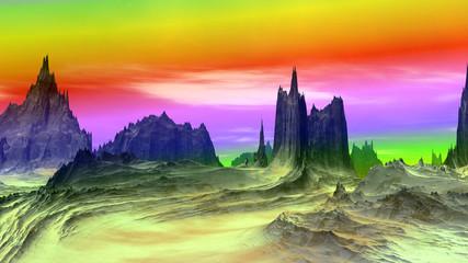 Fantasy alien planet. Rocks and sky. 3D rendering