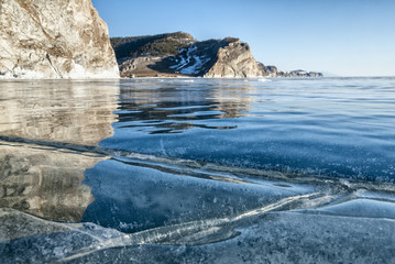 transparent ice of lake Baikal