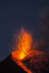 Eruption of Etna Volcano in Sicily,Italy