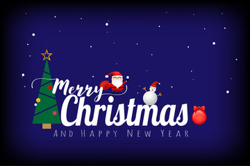 Merry Christmas and happy new year concept on blue color background. Vector illustration design. EPS10