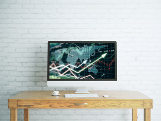 Creative designer desktop with forex chart