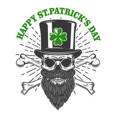 Happy saint patrick day. Irish Leprechaun skull with clover. Design element for poster, t-shirt, emblem, sign. Vector illustration