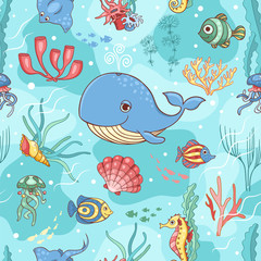 Seamless pattern with whale