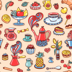 Beautiful breakfast seamless pattern