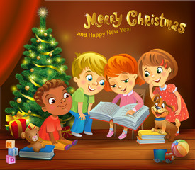 Kids reading the book beside a Christmas tree