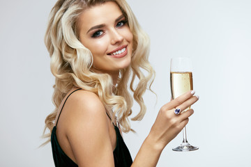 Beautiful Girl With Glass Of Champagne Celebrating