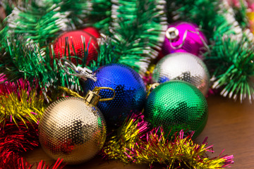Christmas decoration with colored xmas balls and tinsel