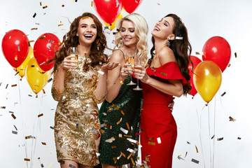 Beautiful Women Celebrating New Year, Having Fun At Party