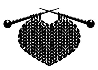 Silhouette of knitting heart.