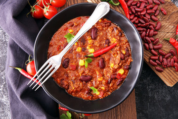 Hot chili con carne - mexican food tasty and spicy.
