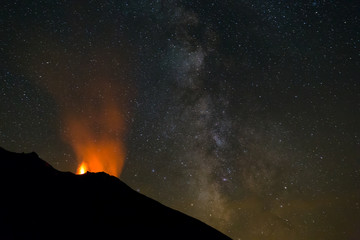 Erupting volcano Stromboli, Italy, at night with prominent Milky Way.