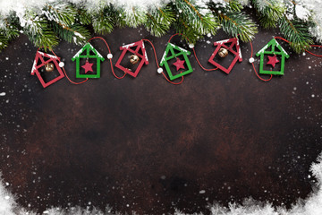 Christmas stone background with snow fir tree