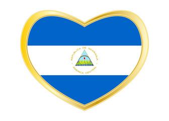 Flag of Nicaragua in heart shape, golden frame