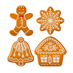 Set of traditional Christmas ginger cookies decorated with sugar icing. Gingerbread man, house, bell and snowflake. Stock vector illustration.