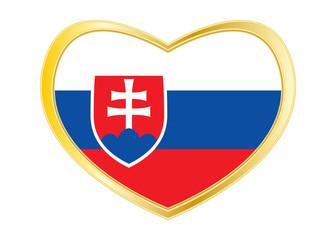 Flag of Slovakia in heart shape, golden frame