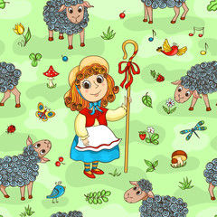 Seamless pattern with shepherd-girl