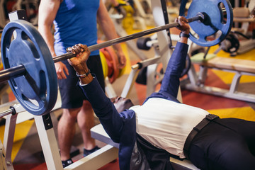 In Gym Exercising Chest On Bench Press