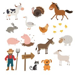 Cute Farm animals set in flat style isolated on white background. Cartoon farm animals.