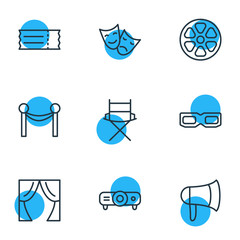 Vector Illustration Of 9 Film Outline Icons. Editable Pack Of Theater, Shooting Seat, Coupon And Other Elements.