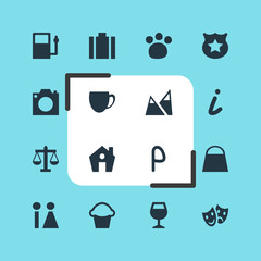 Vector Illustration Of 16 Travel Icons. Editable Pack Of Toilet, Pet Shop, Scales And Other Elements.