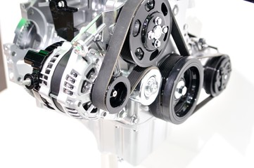 Car generator with drivebelt.