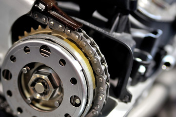 Timing chain from a car engine.