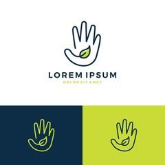 hand leaf logo vector line art