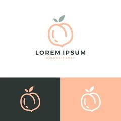 peach logo vector fruit icon