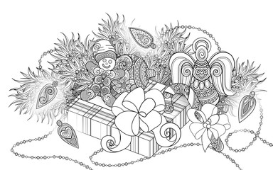 Monochrome New Year Illustration with Gifts and Christmas Tree. Candy Cane, Angel, Gingerbread Man, Glowing Garland. Holiday Background in Doodle Line Style. Coloring Book Page. Vector 3d Contour Art