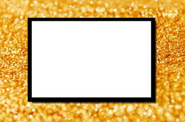 blank advertising billboard or wide screen television with golden glitter texture and bokeh light background, commercial and marketing concept, copy space for text or media content