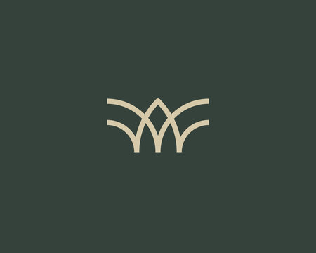 Universal linear logo design. Creative bull horns mark. Luxury letter w wings bird logotype.
